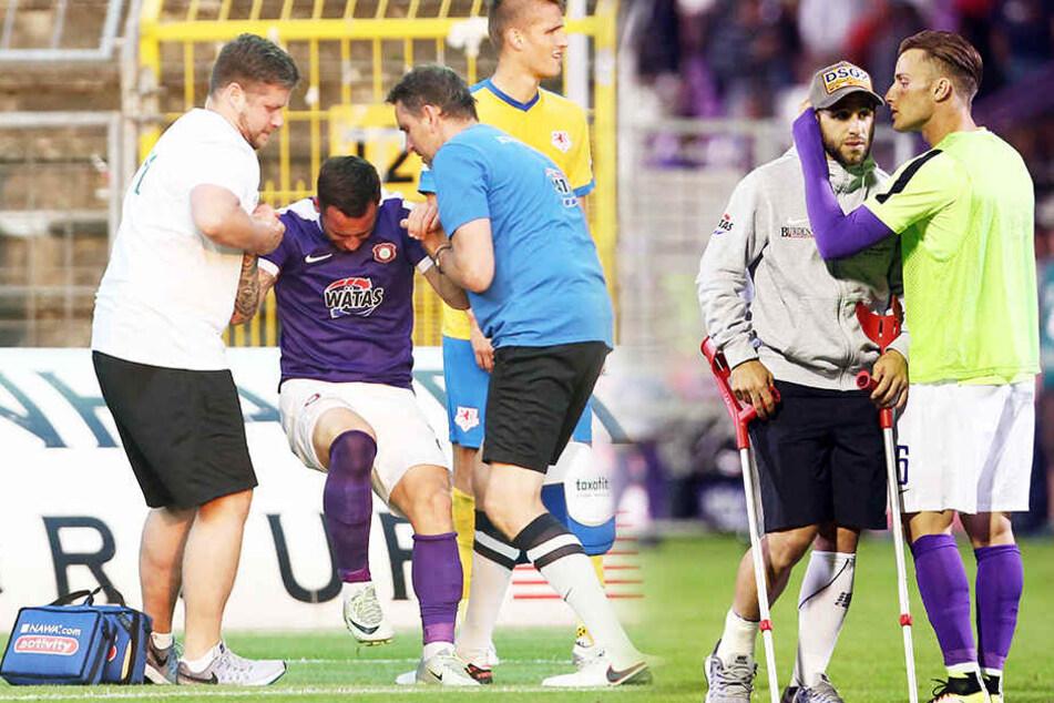 Rizzuto verletzte sich im Spiel gegen Braunschweig und stand am Ende der Partie mit Krücken auf dem Feld.