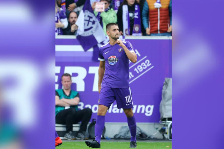 Zwei Mal traf Dimitrij Nazarov gegen Dynamo Dresden.