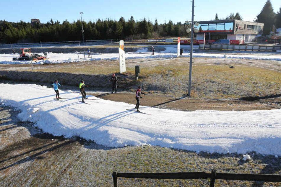 Aktuell können in der Skiarena Oberwiesenthal Sportschüler auf einer 500 Meter-Runde trainieren.