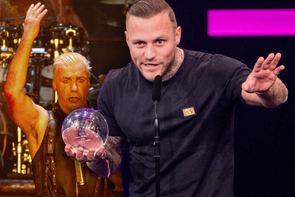 """Till Lindemann (r.), Sänger der Band Rammstein, steht beim Wacken Open-Air Festival (WOA) auf der Bühne, Kontra K (r.) freut sich bei der Verleihung der 1Live-Krone in der Jahrhunderthalle über die Auszeichnung in der Kategorie """"Bester Live-Act"""". (Bildmo"""