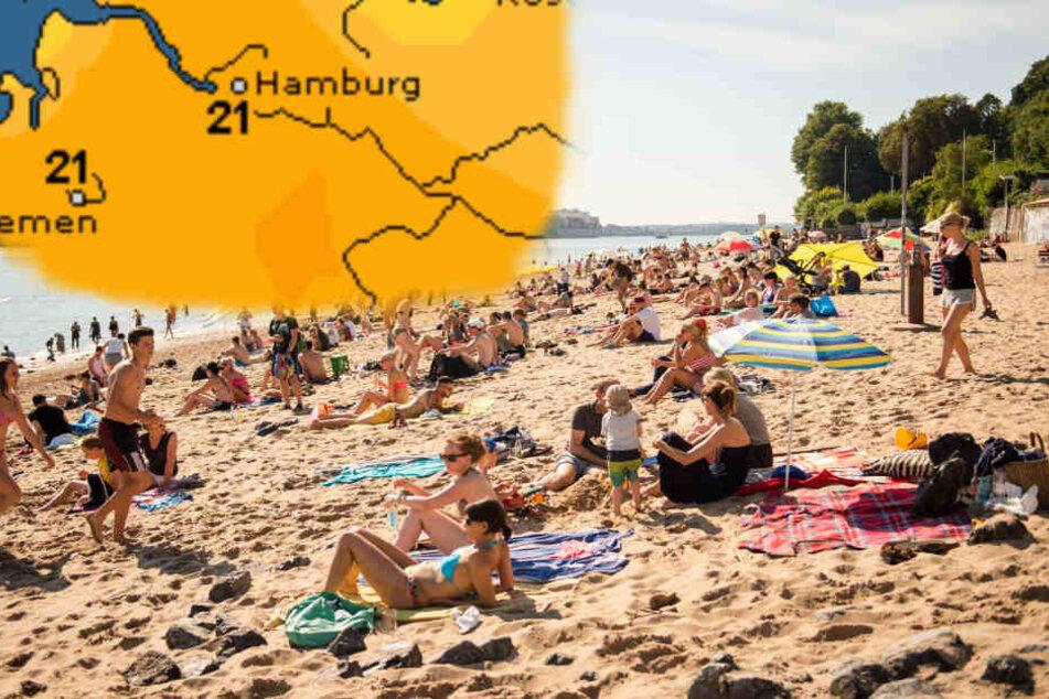 Sonnenbaden am Elbstrand: Die Temperaturen knacken in Hamburg am Sonntag die 20-Grad-Marke.
