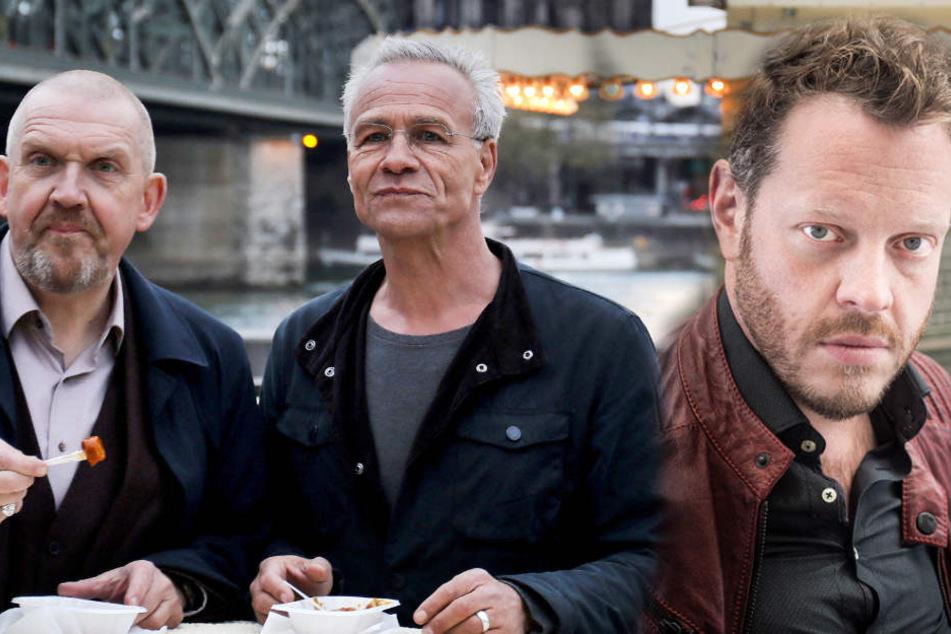 Die Schauspieler Dietmar Bär (l.) und Klaus J. Behrendt (m.) erhalten Unterstützung von Roland Riebeling. Er spielt den Assistenten Norbert Jütte.