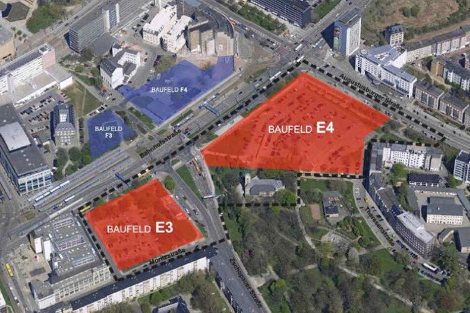Baufelder E 3 (Tietzparkplatz) und E 4 (Neue Johannisvorstadt).