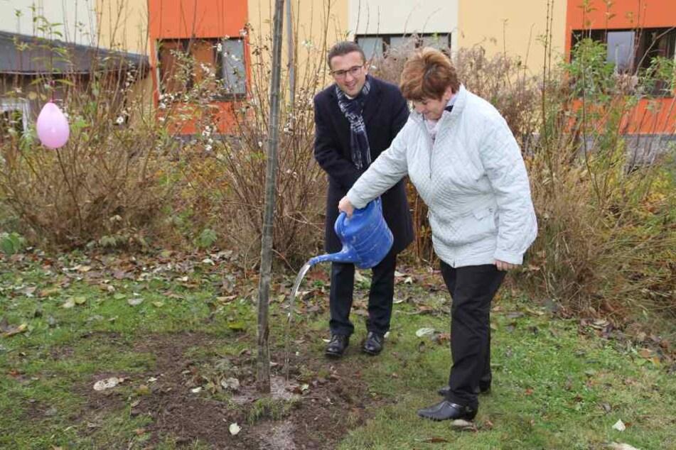 Bundestagsabgeordneter Carsten Körber brachte zwar kein Geld, dafür aber einen neuen Baum fürs Kinderheim mit.