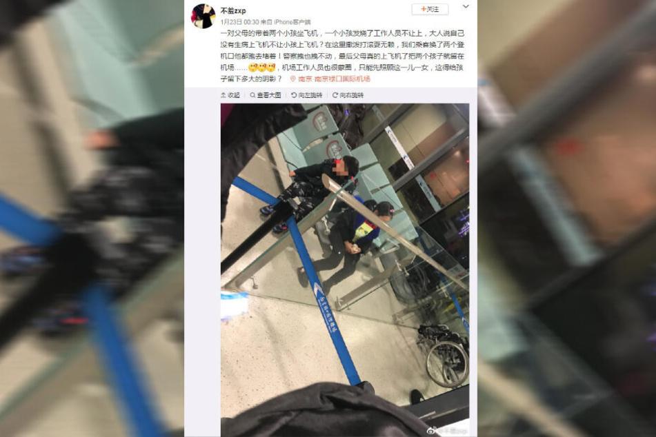 """Der Weibo-User """"Not shy"""" wurde Zeuge der Eskalation auf dem Flughafen, auf dem die beiden Kinder alleine zurückbleiben mussten."""
