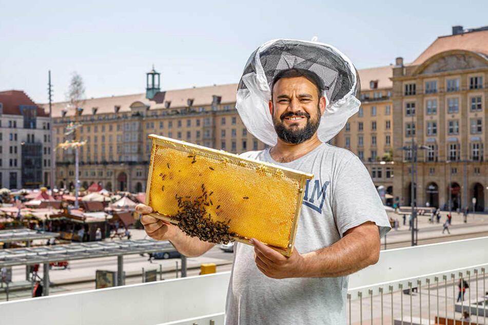 Aofok Nukhailawi (42) auf dem Balkon des Kulturpalastes mit einer Wabe.