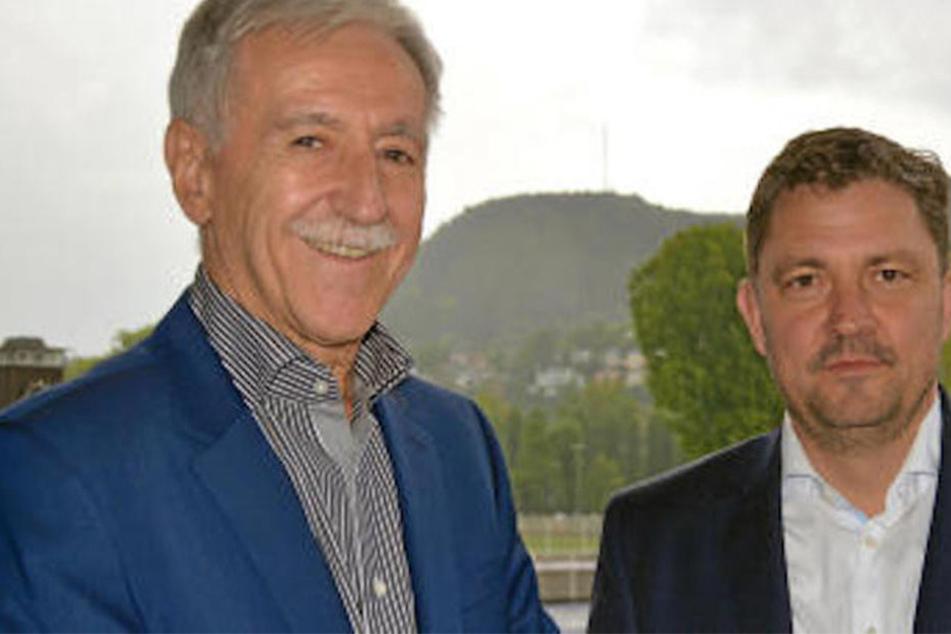 Vereinspräsident Klaus Berka (links) freut sich über den neuen hauptamtlichen Geschäftsführer Chris Förster.