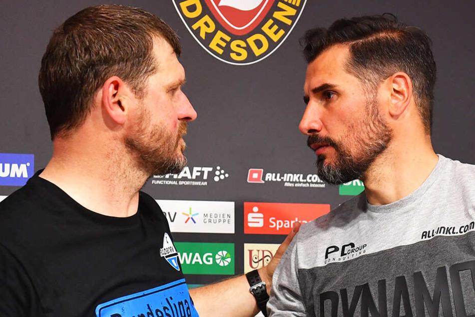 SGD-Coach Cristian Fiel (r.) beglückwünschte seinen Trainerkollegen Steffen Baumgart zum Aufstieg.
