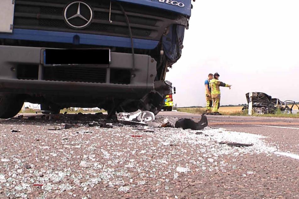 Der Lkw nach dem Zusammenstoß.