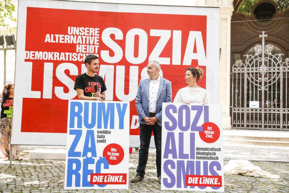 """Linke-Spitzenkandidat Rico Gebhardt (56, M.) wirbt für einen """"demokratischen Sozialismus"""" - auch auf Sorbisch."""