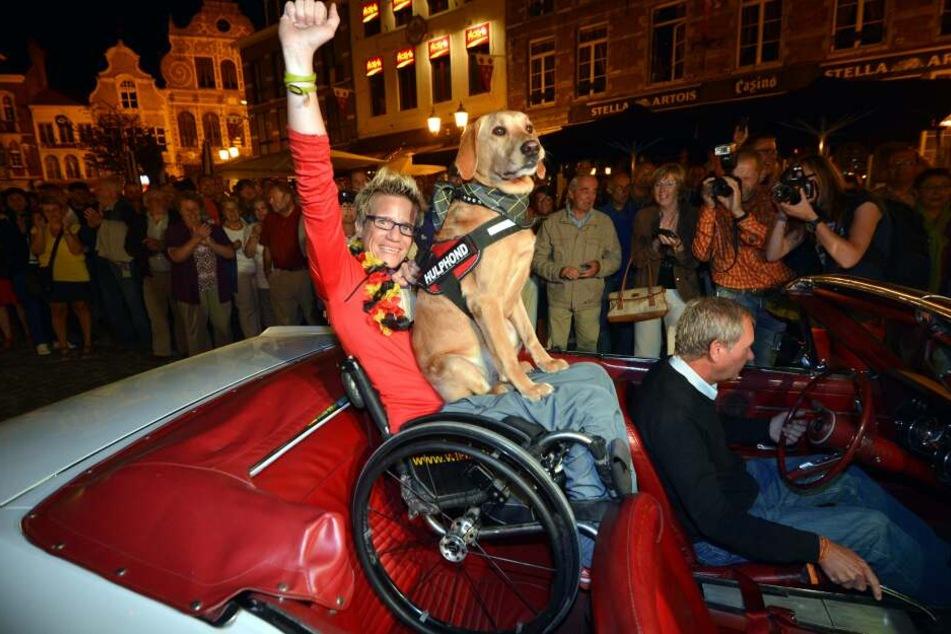 Marieke Vervoort bei einem Empfang in ihrer belgischen Heimat nach dem Sieg bei den Paralympics in London 2012.