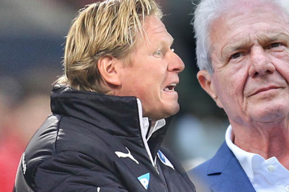 Ehemaliger TSG Hoffenheim-Trainer Markus Gisdol (l.) stärkt seinem alten Weggefährten Dietmar Hopp (r.) den Rücken.