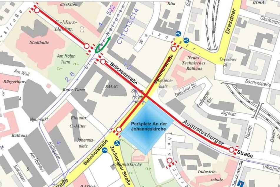 Ab 14 Uhr sind die Brückenstraße, Bahnhofstraße und Augustusburger Straße in den rot gekennzeichneten Bereichen dicht.