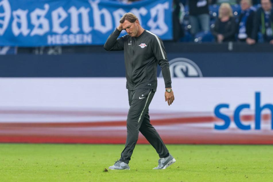 Geknickt läuft Trainer Ralph Hasenhüttl zu seinen Jungs. Seine Mannschaft hat soeben 0:2 gegen Schalke 04 verloren.