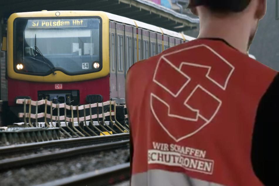 Ein Mitglied der NPD-Streife nach dem Aussteigen aus einer Berliner S-Bahn. (Bildmontage)