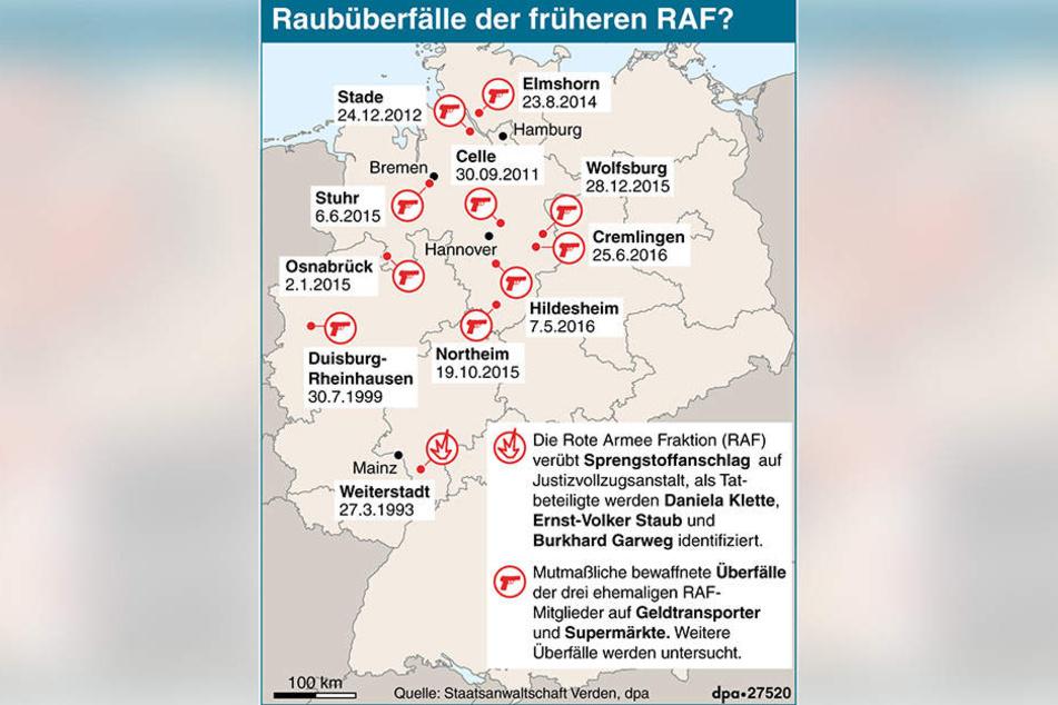 Deutschlandkarte zu Raubüberfällen früherer Mitglieder der linksterroristischen Roten Armee Fraktion.