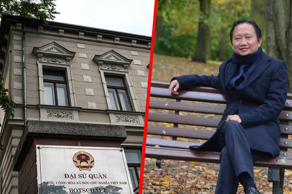 Links die vietnamesische Botschaft in Berlin, die vermutlich für die Entführung von Trinh Xuan Thanh verantwortlich ist.