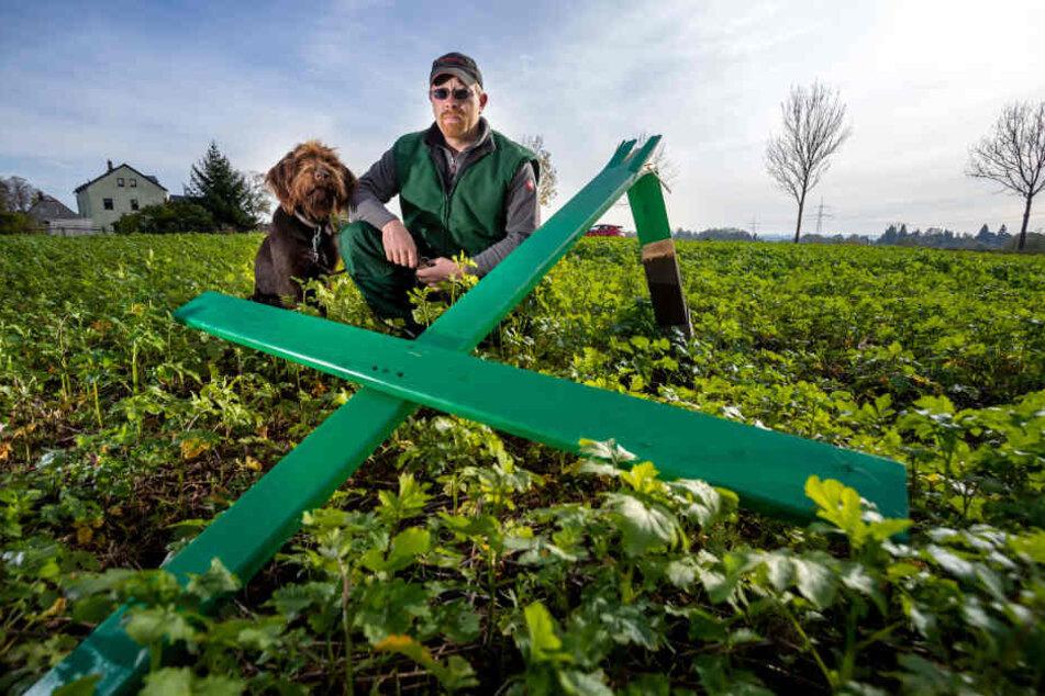 Auf dem Feld von Thomas Röder (36), wo eine Ölrettich-Senf-Mischung angebaut wird, ist ein grünes Protest-Kreuz zerstört worden.