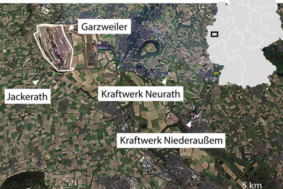 Der Tagebau Garzweiler nordwestlich von Köln. Etwas südlicher liegt der Tagebau Hambach.