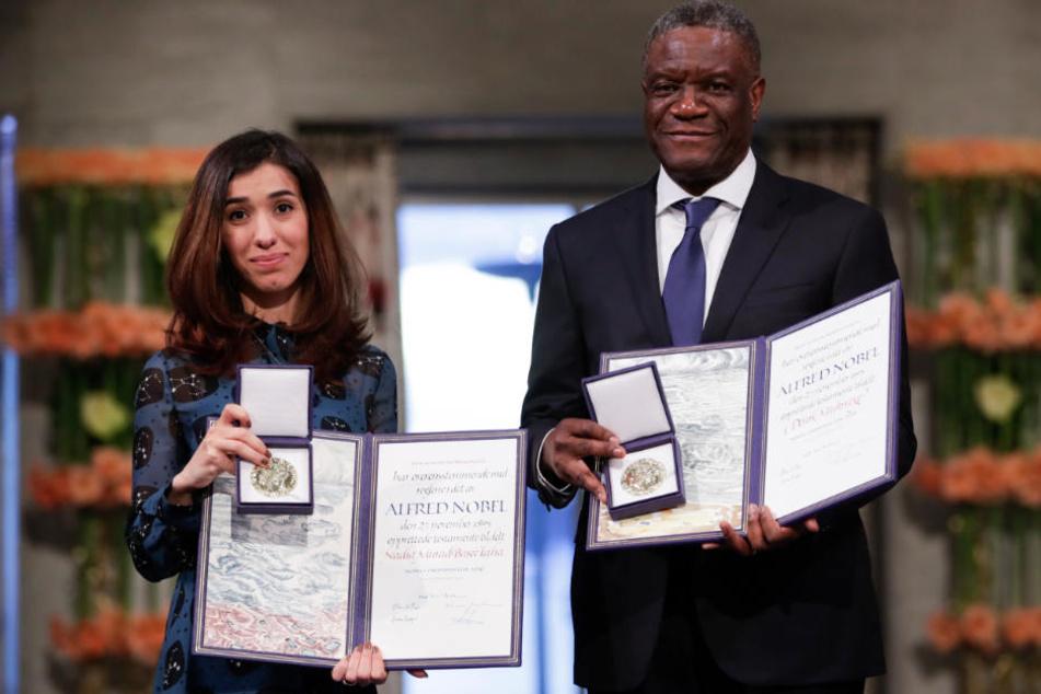Für ihr Engagement ausgezeichnet: Nadia Murad und der Arzt Denis Mukwege.