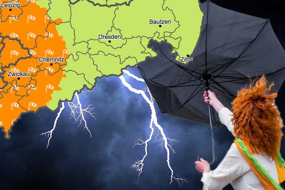 Bis zu 100 km/h: Warnung vor Sturm und Gewittern in Sachsen