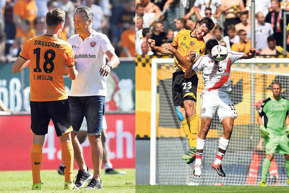 """Dynamo-Trainer Uwe Neuhaus mit Jannik Müller (li.).Neuhaus warnt vor der """"brutalen Kopfballstärke """"der Niedersachsen - zum Beispiel Florian Ballas,der hier dem Hamburger Aziz Bouhaddouz keine Chance lässt (re.)."""