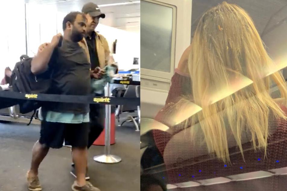 Während der betrunkene Passagier torkelnd aus dem Flugzeug geführt wurde, musste sich die Frau sein Erbrochenes aus den Haaren waschen.