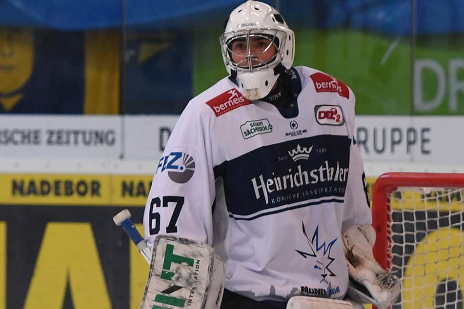 Hannibal Weitzmann hat bereits in  drei Eislöwen-Spielen gezeigt, dass er ein guter Keeper ist.