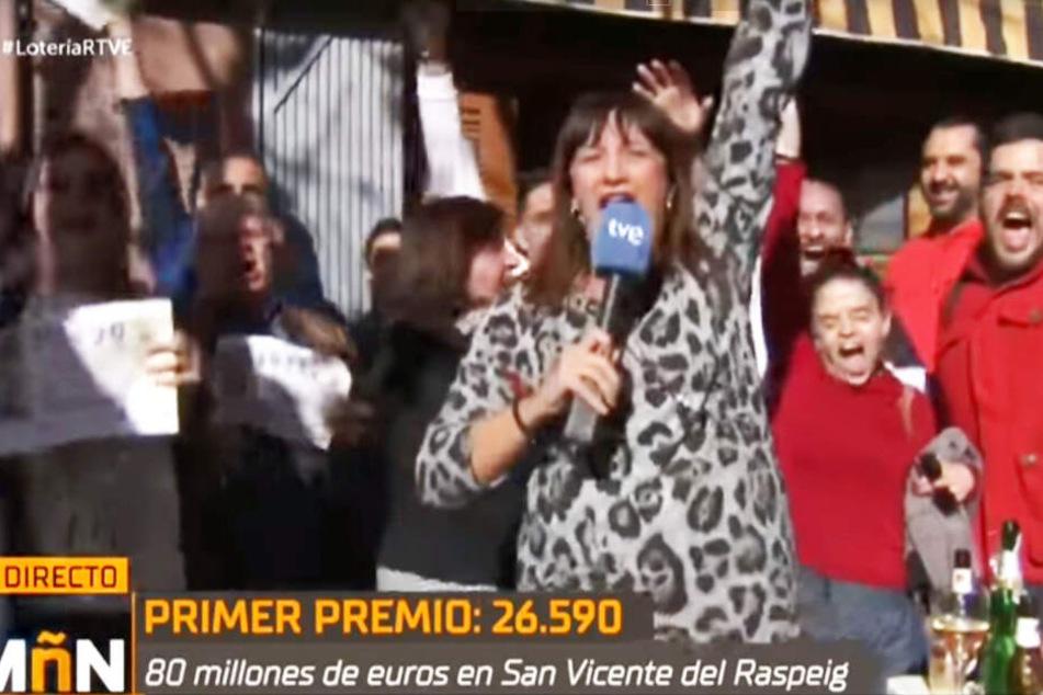 Natalia Escudero feierte ihren Sieg live im Fernsehen.