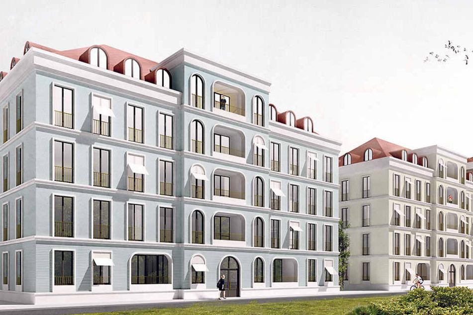 So sollen die Fassaden der geplanten Neubauten aussehen.