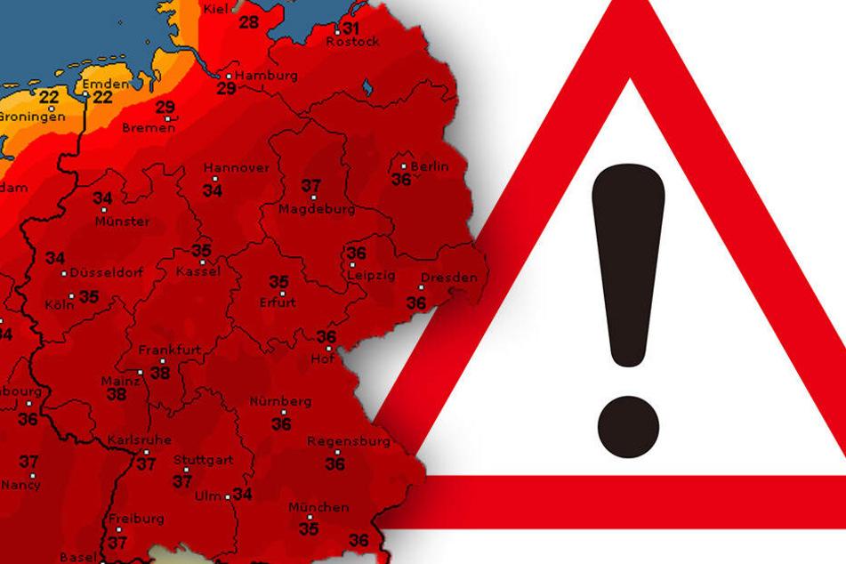 Die Karte von wetteronline.de zeigt: Heute kratzt das Wetter an der 40-Grad-Marke!