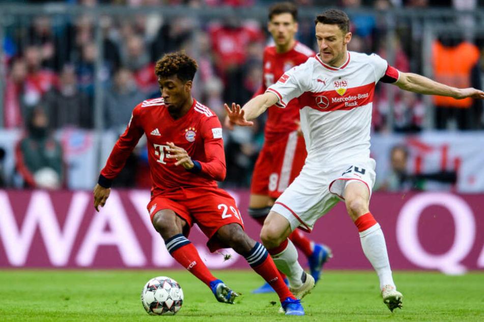 Christian Gentner (rechts im Bild) im Zweikampf mit Kingsley Coman vom FC Bayern München.