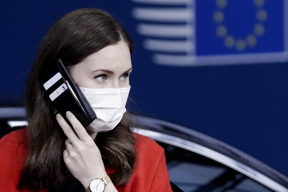 Sanna Marin, Premierministerin von Finnland, trifft zu einem EU-Gipfel im Gebäude des Europäischen Rates ein.