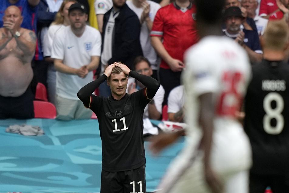 Zu oft glücklos: Nationalstürmer Timo Werner (25) geht vor dem Tor häufig der Puls. Sinnbildlich hier seine Reaktion im EM-Achtelfinale gegen England.