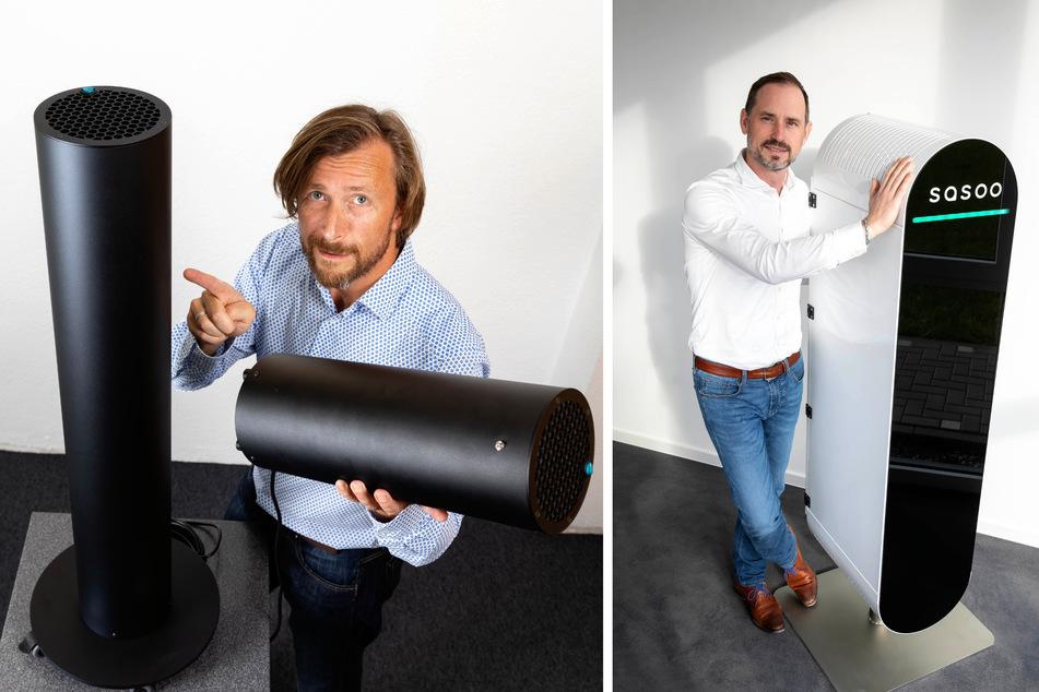 Ronny Rakus (46, l.) aus Klipphausen setzt auf sogenannte UVC-Luftreiniger. Novus-air-Chef Jani Mäkelä (44) schwört auf seine Luftfilter, die in Coswig gefertigt werden.