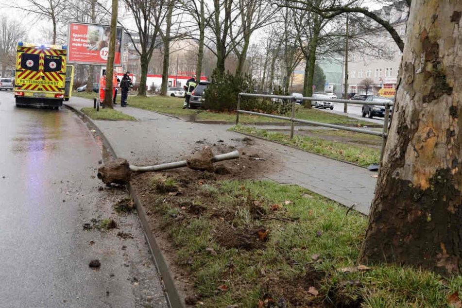 Auto kracht gegen Poller und Baum: Fahrerin im Krankenhaus