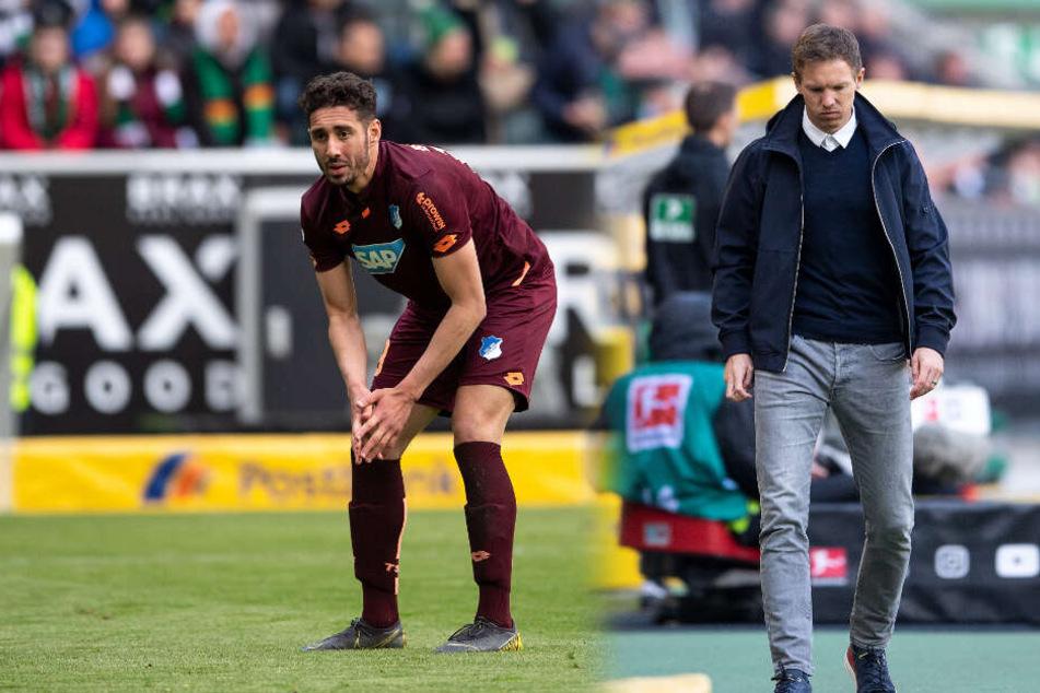 Bedröppelte Mienen bei der TSG: Stürmer Ishak Belfodil (links im Bild) und Trainer Julian Nagelsmann. (Fotomontage)