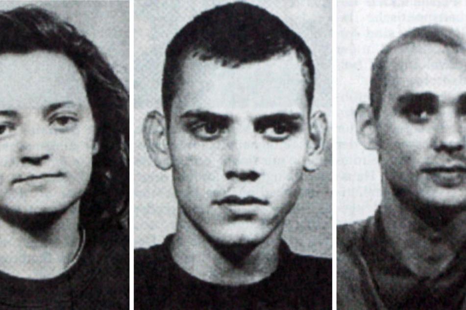 """Beate Zschäpe, Uwe Böhnhardt (†34) und Uwe Mundlos (†38, v.l.) bildeten von 1998 bis 2011 der Terrorzelle """"Nationalsozialistischer Untergrund"""" (NSU)."""