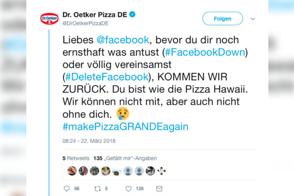 Lange hielt die Facebook-Abstinenz von Dr. Oetker Pizza nicht an. Mit einem Tweet verkündeten sie die Rückkehr.