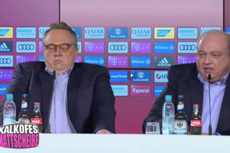 Uli Hoeneß und Karl-Heinz Rummenigge werden von Oliver Kalkofe in seinem Jahresrückblick parodiert.