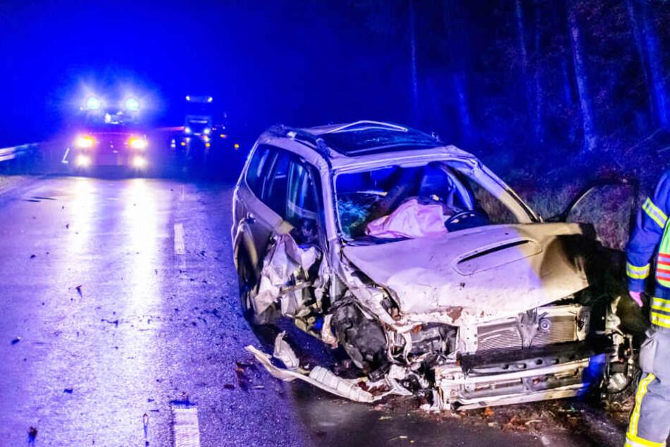 Auto überschlägt sich und kracht gegen Baum: Fahrerin schwer verletzt, Hund mit Schutzengel