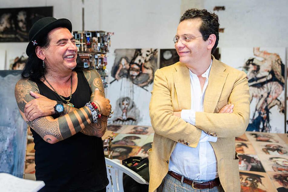 Jean Schmiedel (55, links) soll die Herbst-Saison von George Bergés' Kunstgalerie eröffnen.