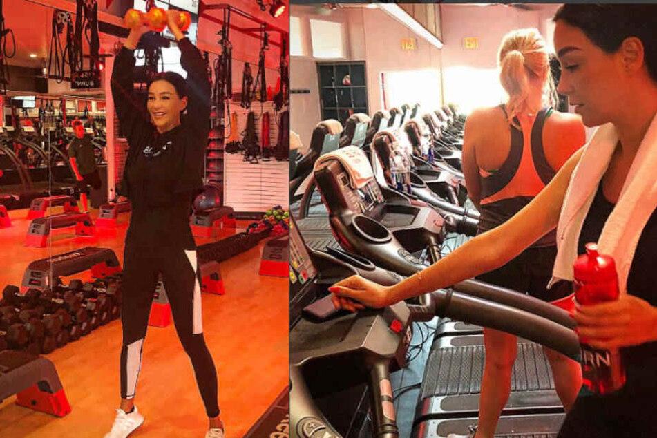 Verona Pooth quält sich auch im Urlaub mit Sport im Fitness-Studio.