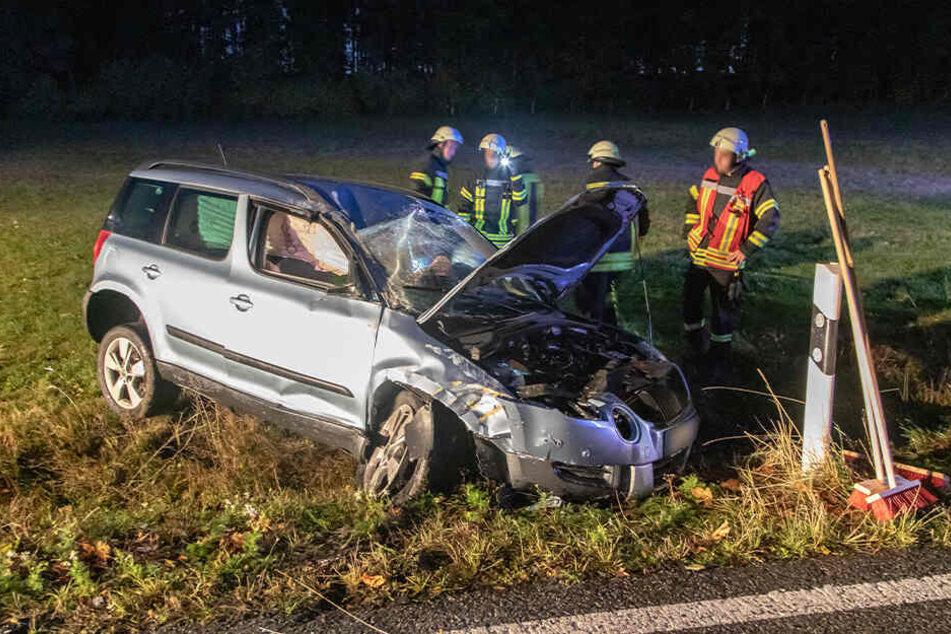 Am Ortsausgang Thum verunglückte am Donnerstag eine Skoda-Fahrerin. Sie wurde schwer verletzt.