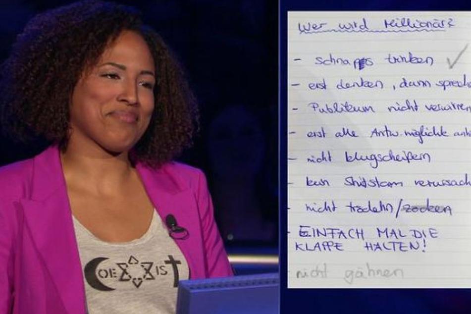 Die Kandidatin hatte sich einen kleine Spickzettel geschrieben.