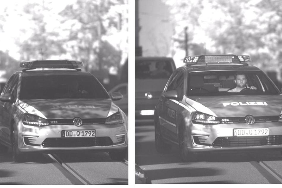 Zum Vergleich: Früher (l.) war die Person im Fahrzeug kaum erkennbar. Mit der modernen Laser-Kamera (r.) ist gut sichtbar, wer hier am Steuer sitzt.