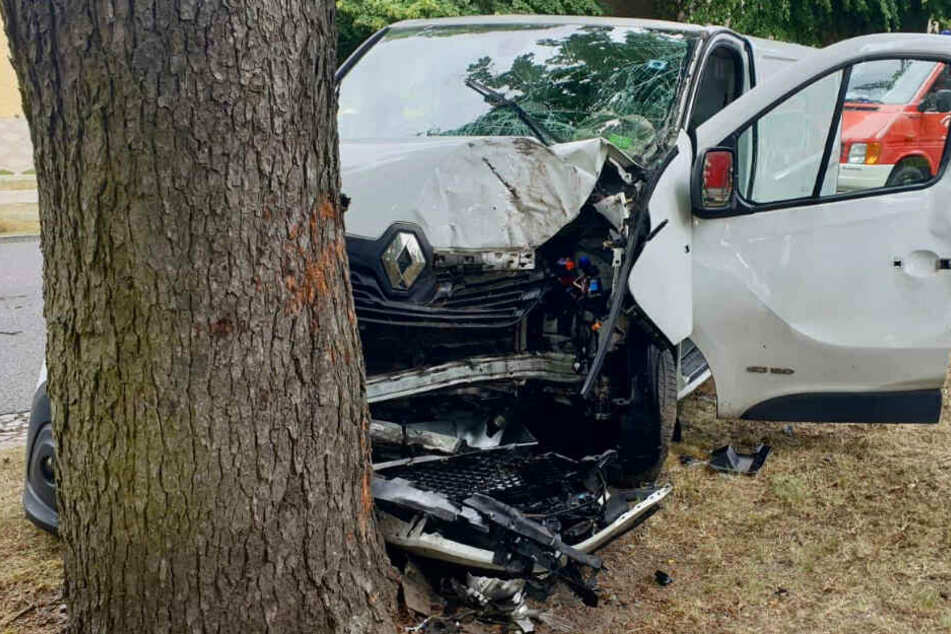 Schwerer Crash: Autofahrer kracht frontal gegen Baum