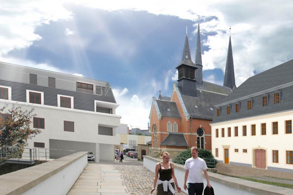 So sollen Magazingebäude (r.) und Torhof (l.) nach der Fertigstellung im Oktober 2020 aussehen.