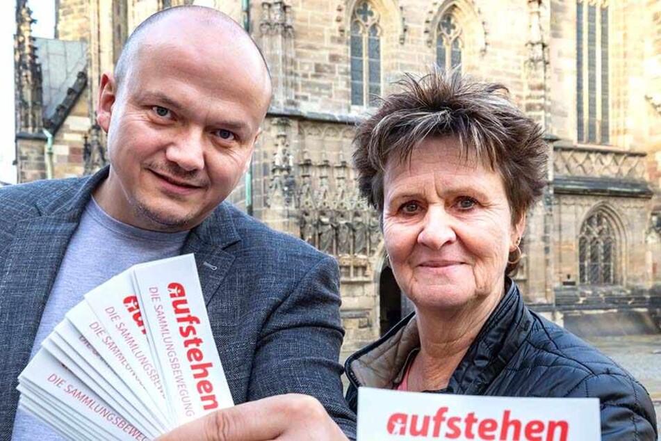 """Sabine Zimmermann (57, Linke) und Parteikollege Sven Wöhl (46) eröffnen jetzt das Zwickauer """"Aufstehen""""-Büro."""