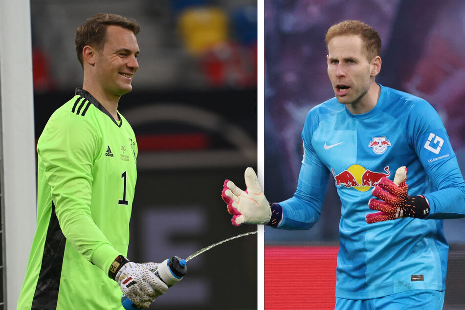 """Ungarn Nationaltrainer Marco Rossi (56) sieht RB Leipzigs Peter Gulacsi (31, r.) """"absolut auf dem gleichen Niveau"""" wie Manuel Neuer (35, l.)."""